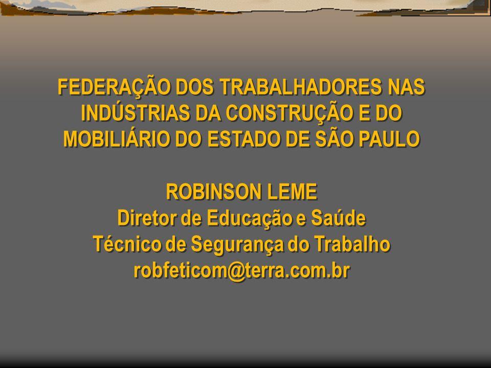 FEDERAÇÃO DOS TRABALHADORES NAS INDÚSTRIAS DA CONSTRUÇÃO E DO MOBILIÁRIO DO ESTADO DE SÃO PAULO ROBINSON LEME Diretor de Educação e Saúde Técnico de S