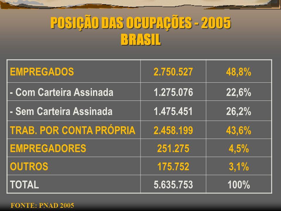 POSIÇÃO DAS OCUPAÇÕES - 2005 BRASIL EMPREGADOS2.750.52748,8% - Com Carteira Assinada1.275.07622,6% - Sem Carteira Assinada1.475.45126,2% TRAB. POR CON