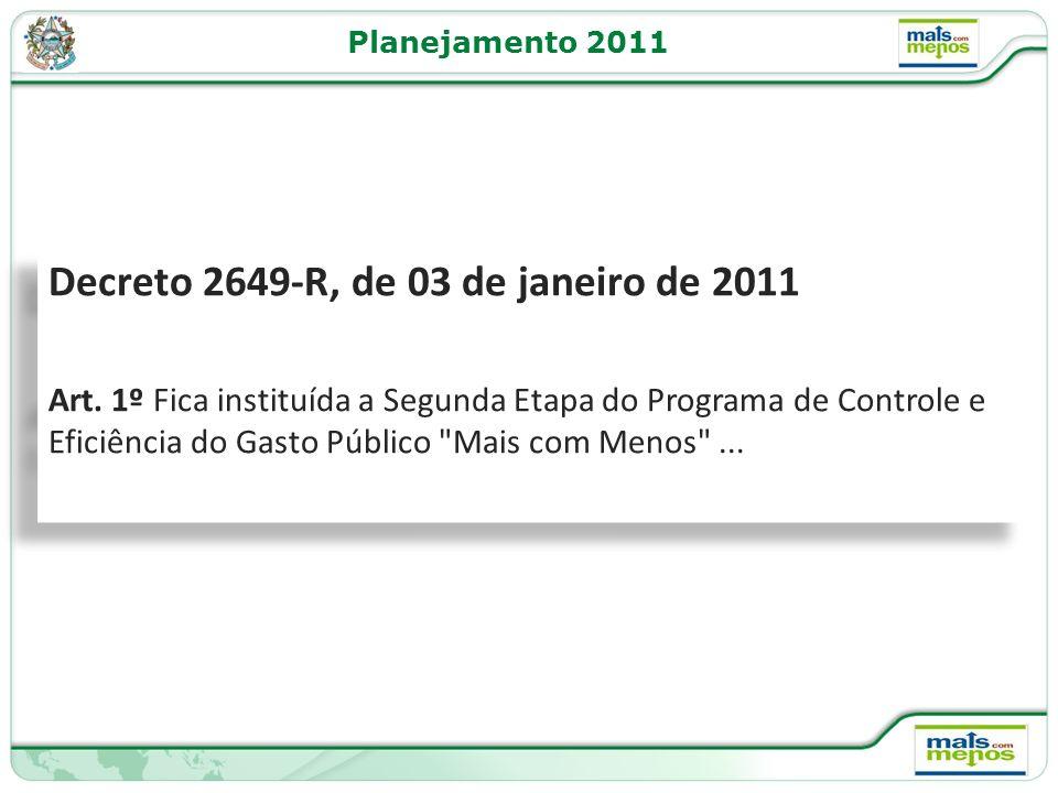 Planejamento 2011 Decreto 2649-R, de 03 de janeiro de 2011 Art.