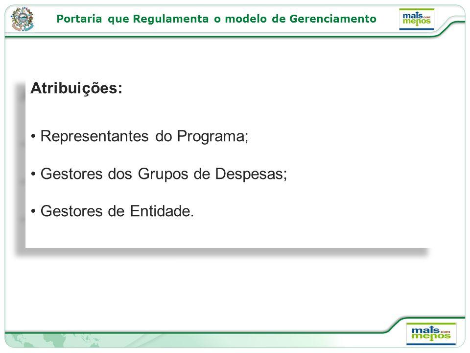 Atribuições: Representantes do Programa; Gestores dos Grupos de Despesas; Gestores de Entidade.