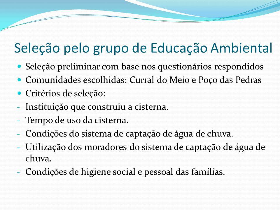 Seleção pelo grupo de Educação Ambiental Famílias selecionadas: Cisternas construídas pelo próprio morador: - José Cavalcante da Silva - Questionário: D0218 - Elizabete Farias.