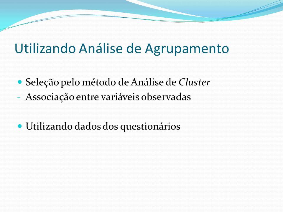 Utilizando Análise de Agrupamento Seleção pelo método de Análise de Cluster - Associação entre variáveis observadas Utilizando dados dos questionários