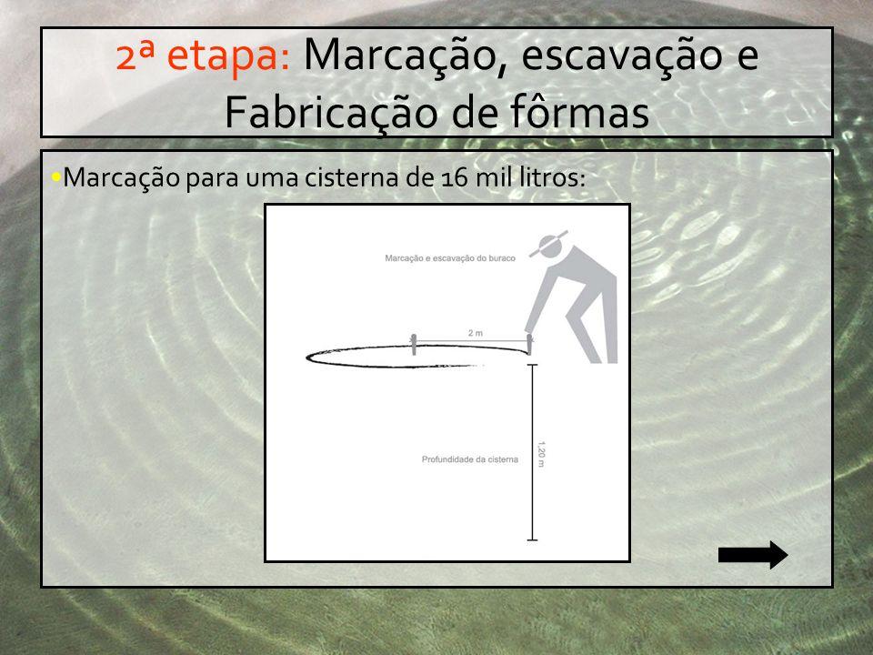 2ª etapa: Marcação, escavação e Fabricação de fôrmas Marcação para uma cisterna de 16 mil litros: