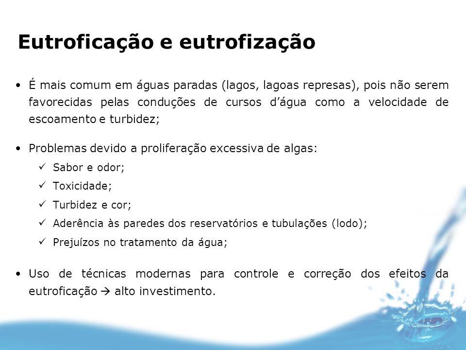 É mais comum em águas paradas (lagos, lagoas represas), pois não serem favorecidas pelas conduções de cursos dágua como a velocidade de escoamento e t