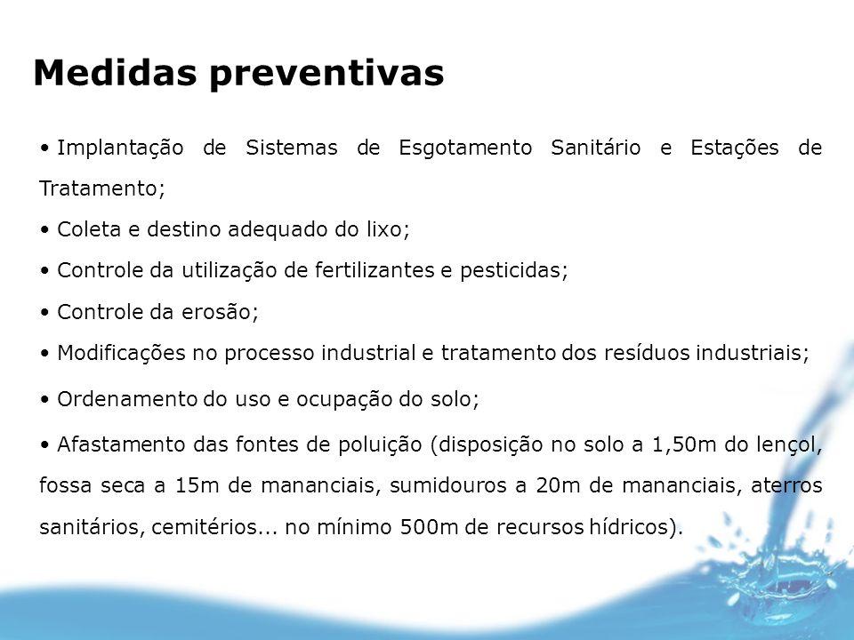 Medidas preventivas Implantação de Sistemas de Esgotamento Sanitário e Estações de Tratamento; Coleta e destino adequado do lixo; Controle da utilizaç