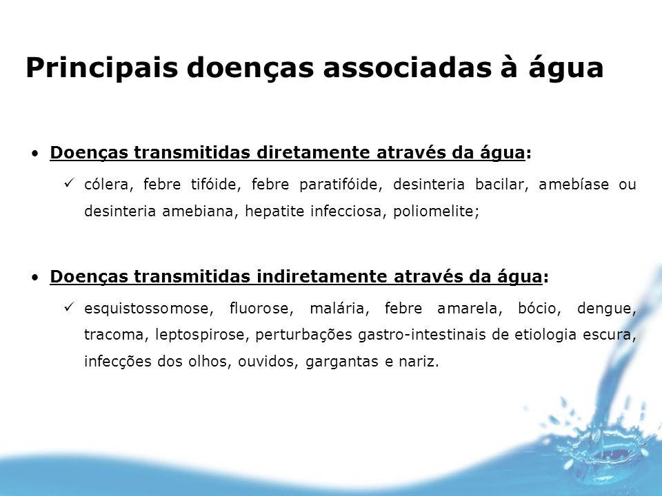 Principais doenças associadas à água Doenças transmitidas diretamente através da água: cólera, febre tifóide, febre paratifóide, desinteria bacilar, a