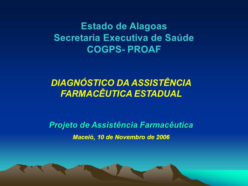 Estado de Alagoas Secretaria Executiva de Saúde COGPS- PROAF DIAGNÓSTICO DA ASSISTÊNCIA FARMACÊUTICA ESTADUAL Projeto de Assistência Farmacêutica Mace