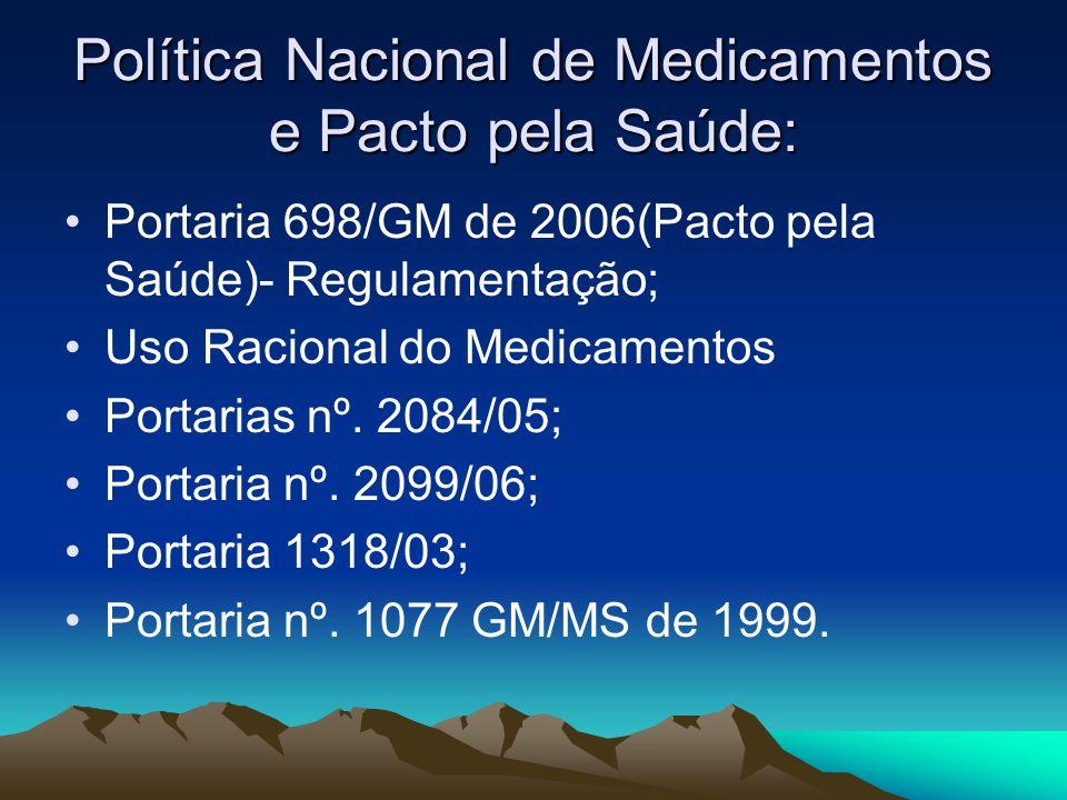 Política Nacional de Medicamentos e Pacto pela Saúde: Portaria 698/GM de 2006(Pacto pela Saúde)- Regulamentação; Uso Racional do Medicamentos Portaria