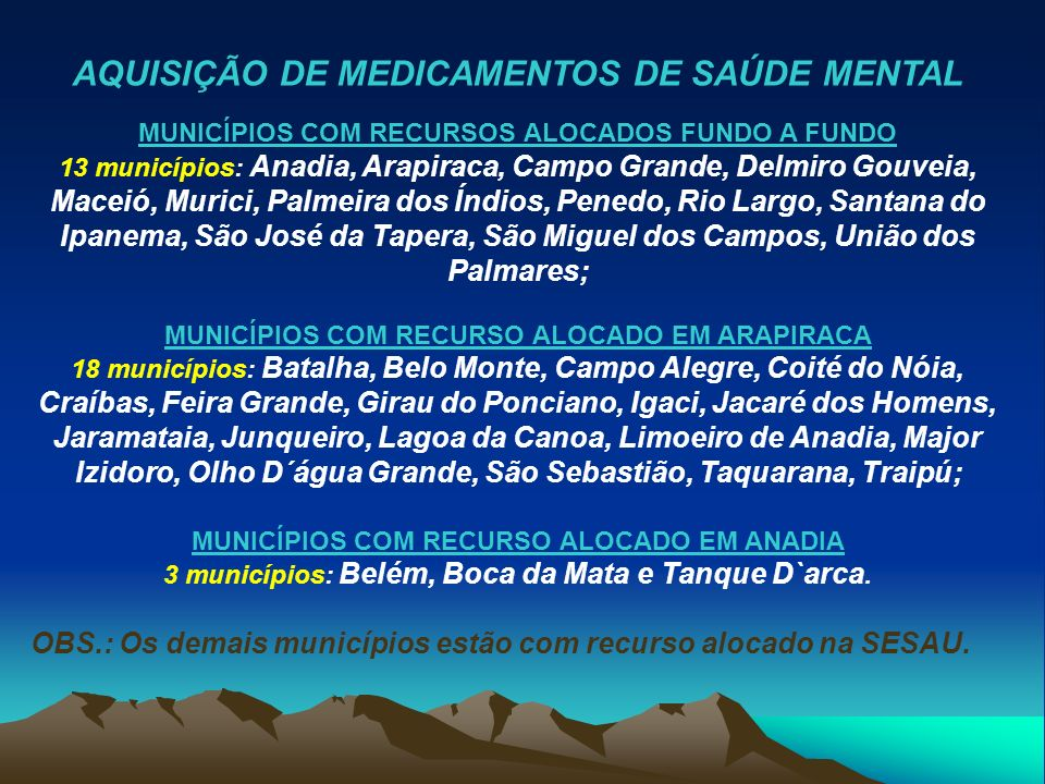 AQUISIÇÃO DE MEDICAMENTOS DE SAÚDE MENTAL MUNICÍPIOS COM RECURSOS ALOCADOS FUNDO A FUNDO 13 municípios: Anadia, Arapiraca, Campo Grande, Delmiro Gouve