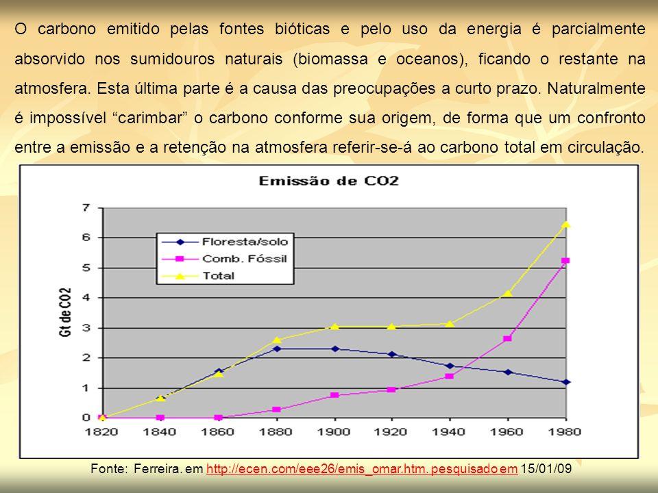 O carbono emitido pelas fontes bióticas e pelo uso da energia é parcialmente absorvido nos sumidouros naturais (biomassa e oceanos), ficando o restant