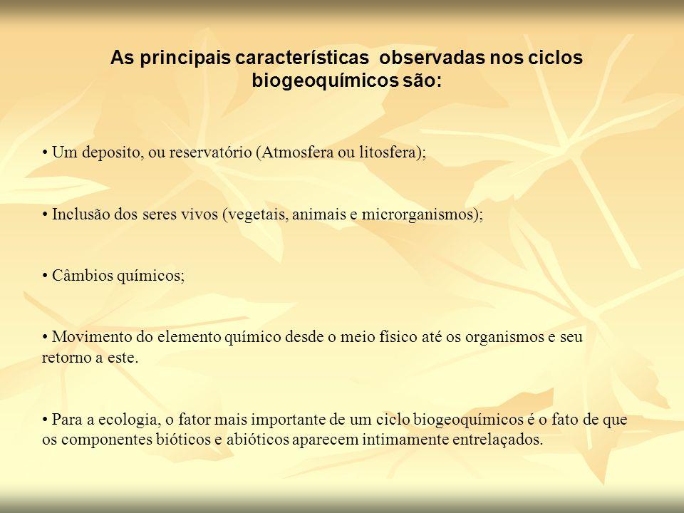 As principais características observadas nos ciclos biogeoquímicos são: Um deposito, ou reservatório (Atmosfera ou litosfera); Inclusão dos seres vivo
