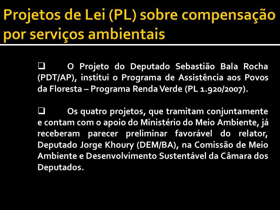 O Projeto do Deputado Sebastião Bala Rocha (PDT/AP), institui o Programa de Assistência aos Povos da Floresta – Programa Renda Verde (PL 1.920/2007).