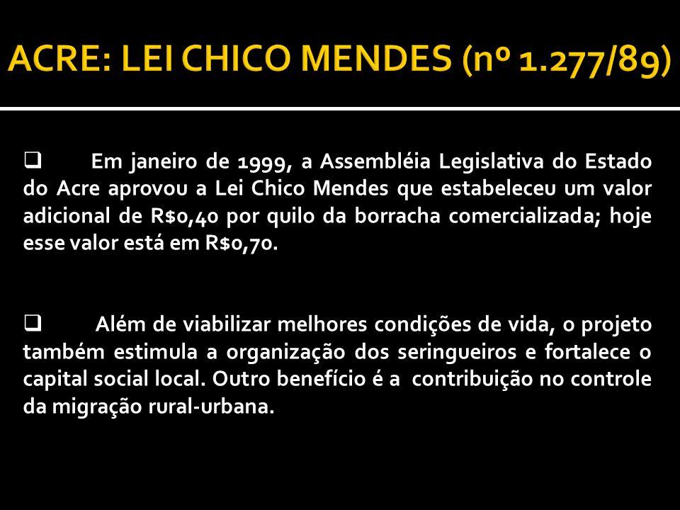Em janeiro de 1999, a Assembléia Legislativa do Estado do Acre aprovou a Lei Chico Mendes que estabeleceu um valor adicional de R$0,40 por quilo da borracha comercializada; hoje esse valor está em R$0,70.