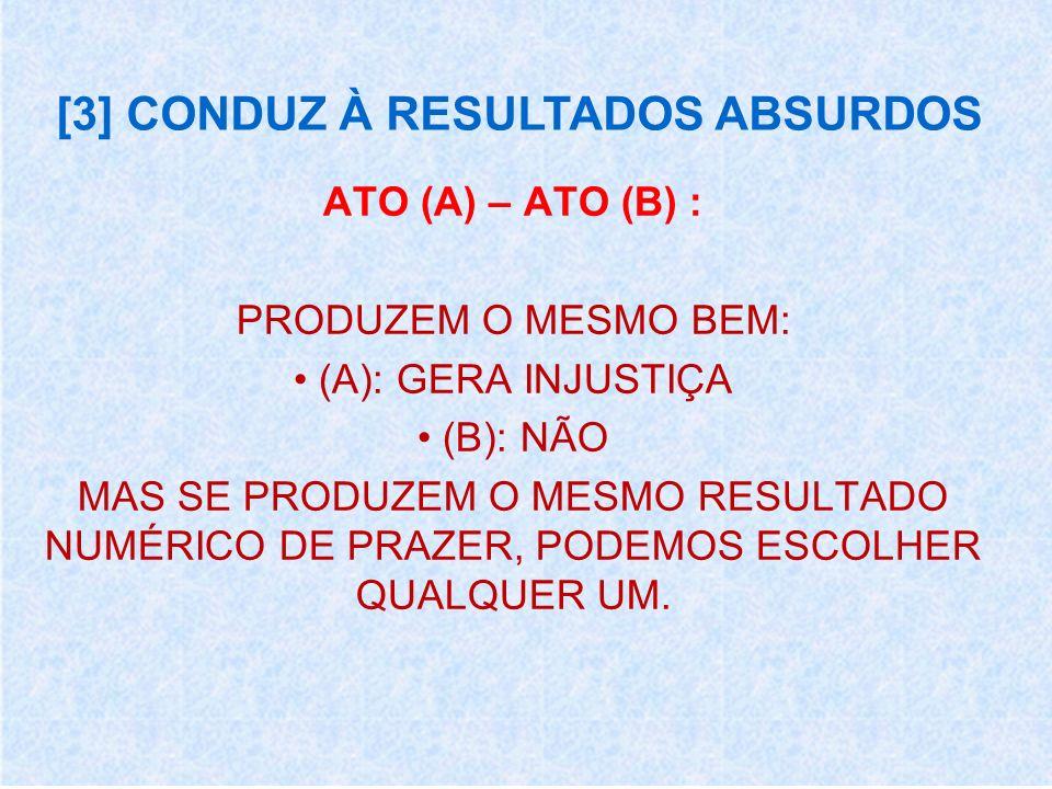 [3] CONDUZ À RESULTADOS ABSURDOS ATO (A) – ATO (B) : PRODUZEM O MESMO BEM: (A): GERA INJUSTIÇA (B): NÃO MAS SE PRODUZEM O MESMO RESULTADO NUMÉRICO DE PRAZER, PODEMOS ESCOLHER QUALQUER UM.