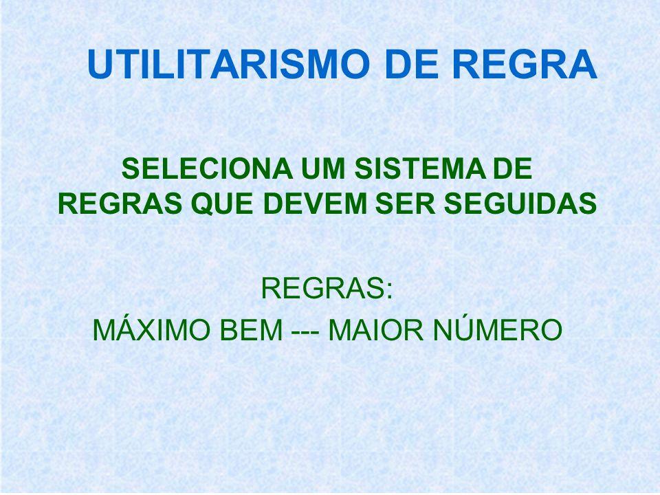 UTILITARISMO DE REGRA SELECIONA UM SISTEMA DE REGRAS QUE DEVEM SER SEGUIDAS REGRAS: MÁXIMO BEM --- MAIOR NÚMERO