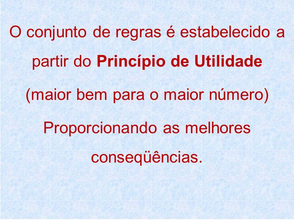 O conjunto de regras é estabelecido a partir do Princípio de Utilidade (maior bem para o maior número) Proporcionando as melhores conseqüências.