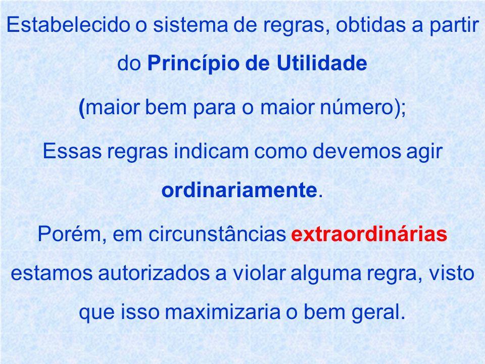 Estabelecido o sistema de regras, obtidas a partir do Princípio de Utilidade (maior bem para o maior número); Essas regras indicam como devemos agir o