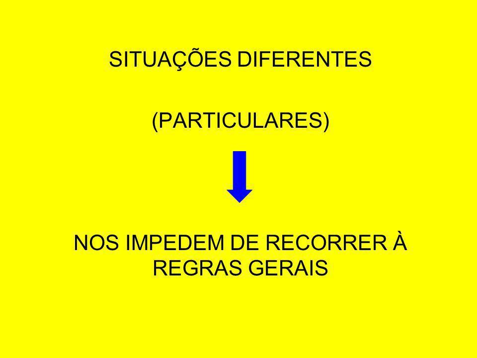 SITUAÇÕES DIFERENTES (PARTICULARES) NOS IMPEDEM DE RECORRER À REGRAS GERAIS