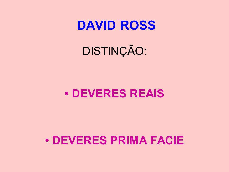 DAVID ROSS DISTINÇÃO: DEVERES REAIS DEVERES PRIMA FACIE