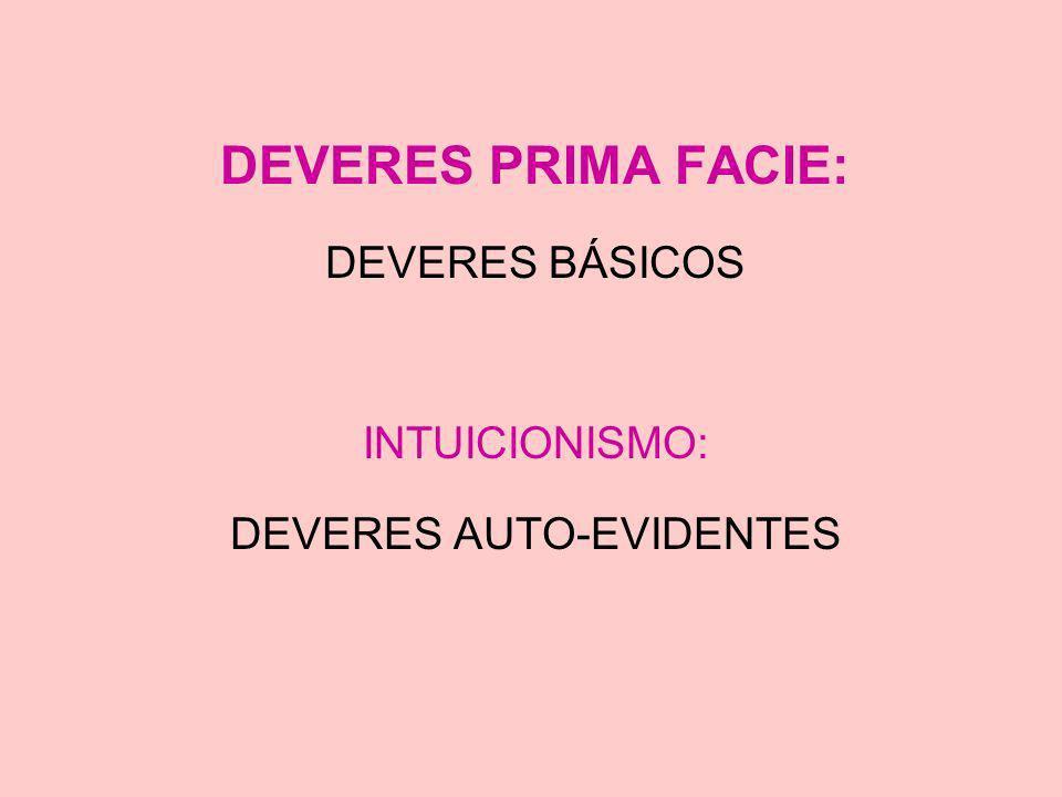 DEVERES PRIMA FACIE: DEVERES BÁSICOS INTUICIONISMO: DEVERES AUTO-EVIDENTES