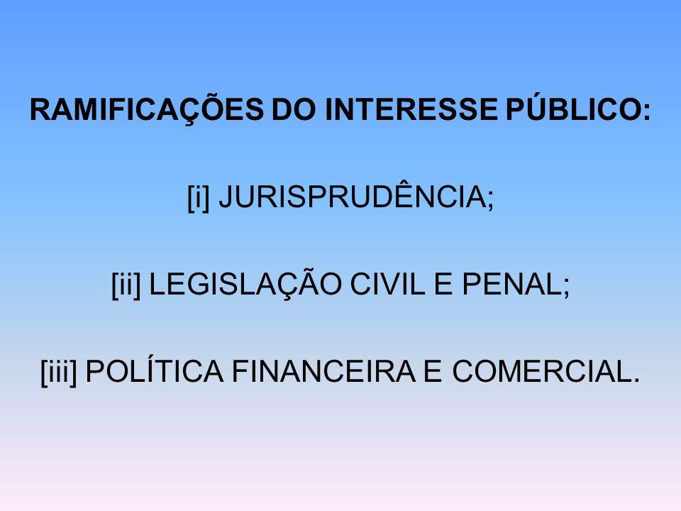 RAMIFICAÇÕES DO INTERESSE PÚBLICO: [i] JURISPRUDÊNCIA; [ii] LEGISLAÇÃO CIVIL E PENAL; [iii] POLÍTICA FINANCEIRA E COMERCIAL.