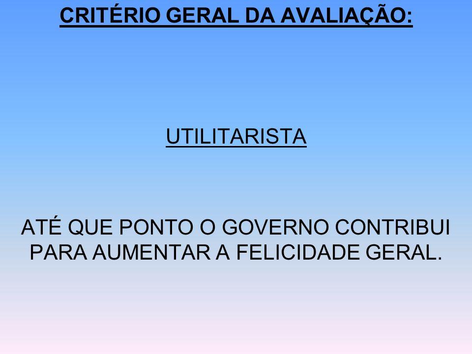 CRITÉRIO GERAL DA AVALIAÇÃO: UTILITARISTA ATÉ QUE PONTO O GOVERNO CONTRIBUI PARA AUMENTAR A FELICIDADE GERAL.