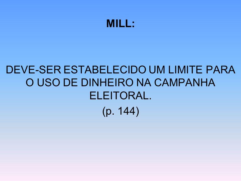 MILL: DEVE-SER ESTABELECIDO UM LIMITE PARA O USO DE DINHEIRO NA CAMPANHA ELEITORAL. (p. 144)