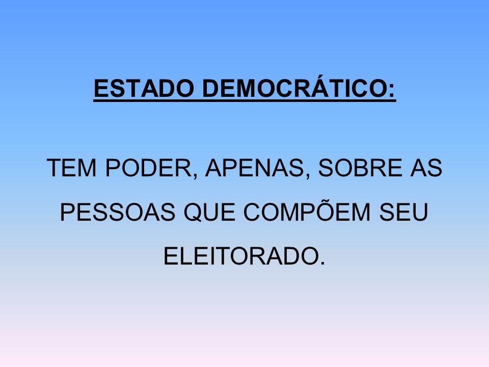 ESTADO DEMOCRÁTICO: TEM PODER, APENAS, SOBRE AS PESSOAS QUE COMPÕEM SEU ELEITORADO.