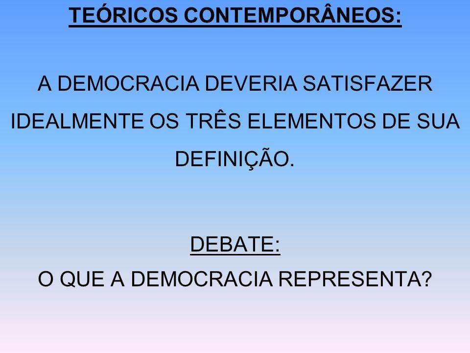 TEÓRICOS CONTEMPORÂNEOS: A DEMOCRACIA DEVERIA SATISFAZER IDEALMENTE OS TRÊS ELEMENTOS DE SUA DEFINIÇÃO. DEBATE: O QUE A DEMOCRACIA REPRESENTA?