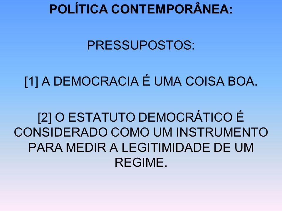 POLÍTICA CONTEMPORÂNEA: PRESSUPOSTOS: [1] A DEMOCRACIA É UMA COISA BOA. [2] O ESTATUTO DEMOCRÁTICO É CONSIDERADO COMO UM INSTRUMENTO PARA MEDIR A LEGI