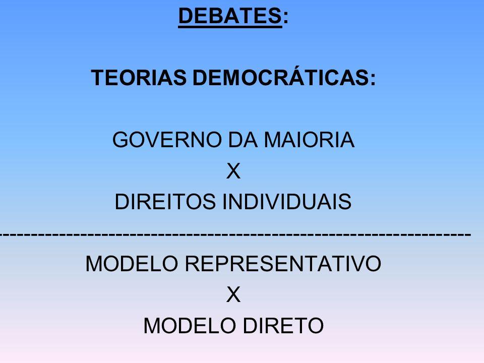 DEBATES: TEORIAS DEMOCRÁTICAS: GOVERNO DA MAIORIA X DIREITOS INDIVIDUAIS ------------------------------------------------------------------- MODELO RE