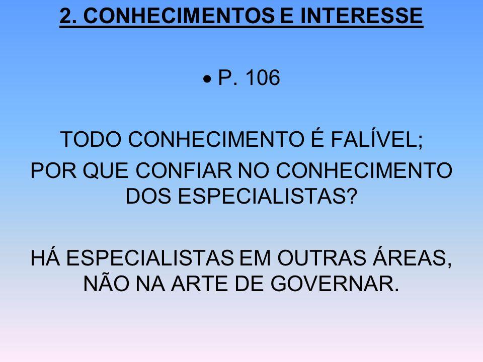 2. CONHECIMENTOS E INTERESSE P. 106 TODO CONHECIMENTO É FALÍVEL; POR QUE CONFIAR NO CONHECIMENTO DOS ESPECIALISTAS? HÁ ESPECIALISTAS EM OUTRAS ÁREAS,