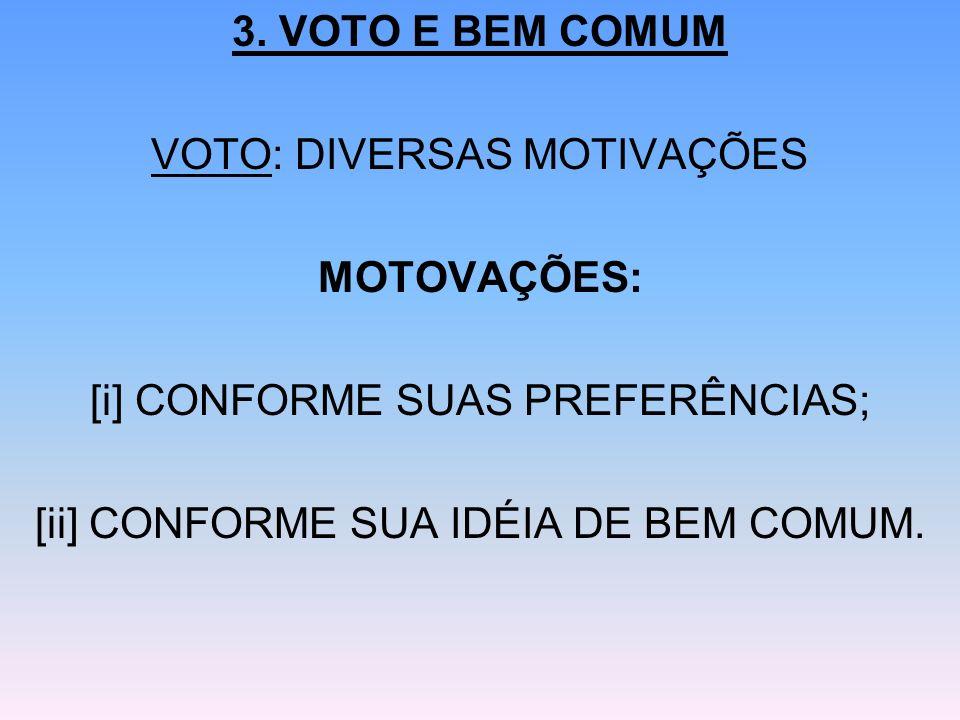 3. VOTO E BEM COMUM VOTO: DIVERSAS MOTIVAÇÕES MOTOVAÇÕES: [i] CONFORME SUAS PREFERÊNCIAS; [ii] CONFORME SUA IDÉIA DE BEM COMUM.