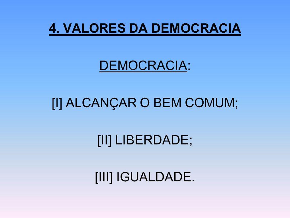 4. VALORES DA DEMOCRACIA DEMOCRACIA: [I] ALCANÇAR O BEM COMUM; [II] LIBERDADE; [III] IGUALDADE.
