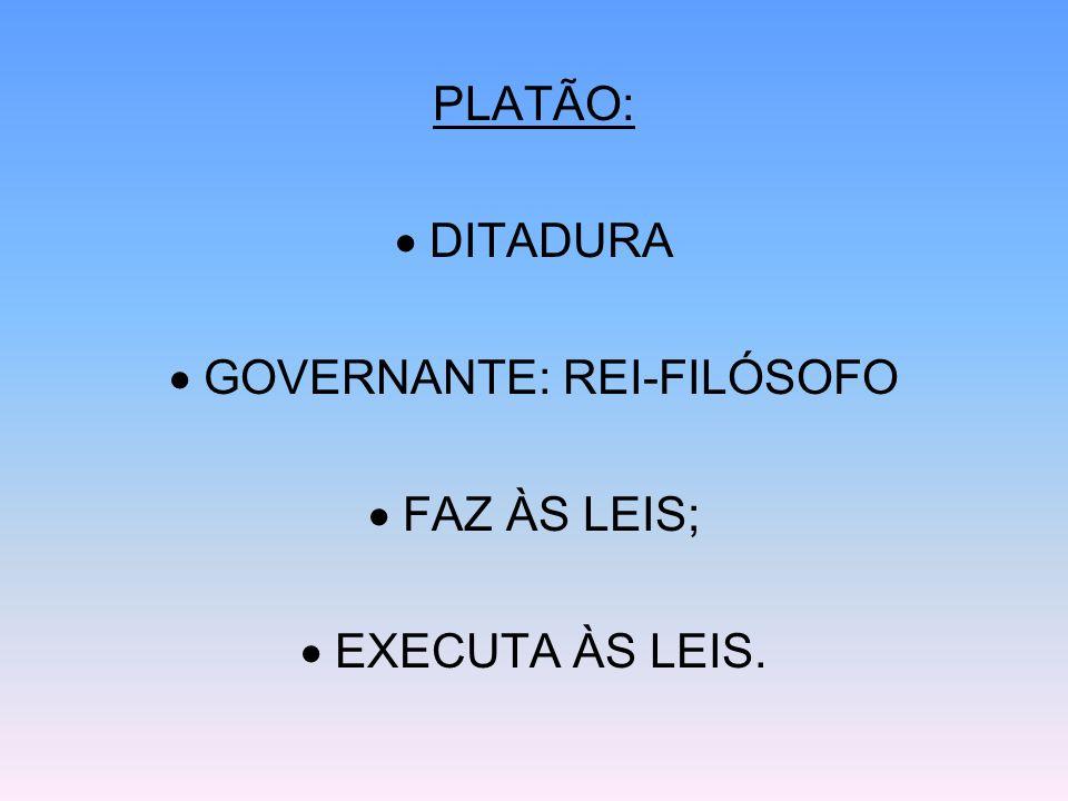 PLATÃO: DITADURA GOVERNANTE: REI-FILÓSOFO FAZ ÀS LEIS; EXECUTA ÀS LEIS.