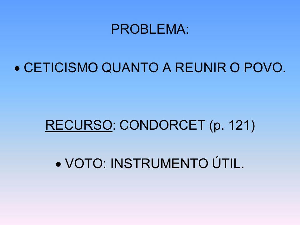 PROBLEMA: CETICISMO QUANTO A REUNIR O POVO. RECURSO: CONDORCET (p. 121) VOTO: INSTRUMENTO ÚTIL.