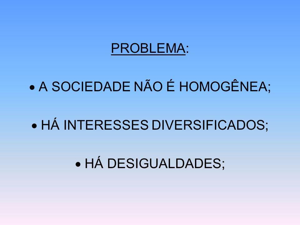 PROBLEMA: A SOCIEDADE NÃO É HOMOGÊNEA; HÁ INTERESSES DIVERSIFICADOS; HÁ DESIGUALDADES;