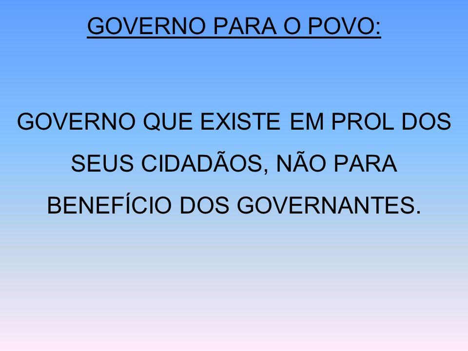 GOVERNO: PODERES INDEPENDENTES [1] EXECUTIVO [2] LEGISLATIVO [3] JUDICIÁRIO A VIGILÂNCIA MÚTUA ENTRE ELES EVITA O ABUSO DO PROCESSO DEMOCRÁTICO.
