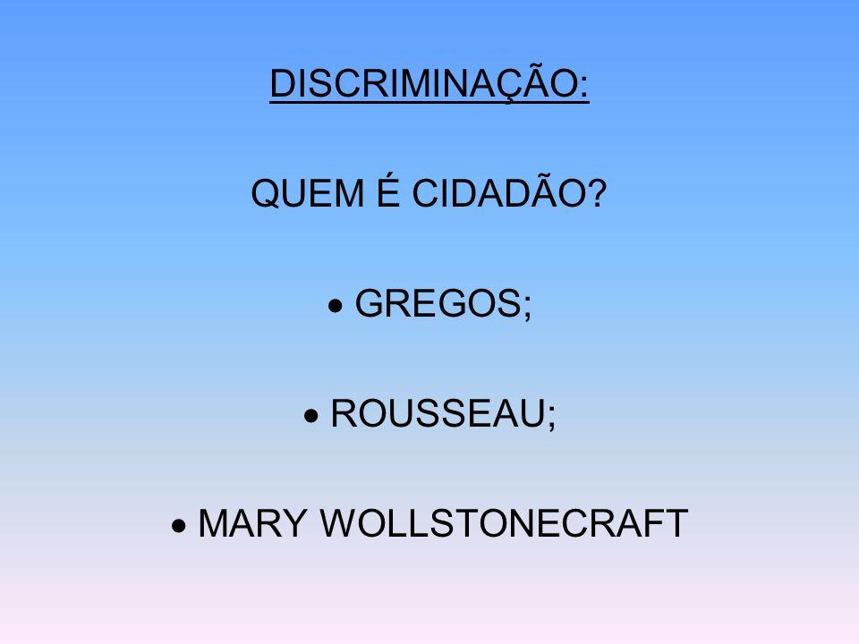 DISCRIMINAÇÃO: QUEM É CIDADÃO? GREGOS; ROUSSEAU; MARY WOLLSTONECRAFT