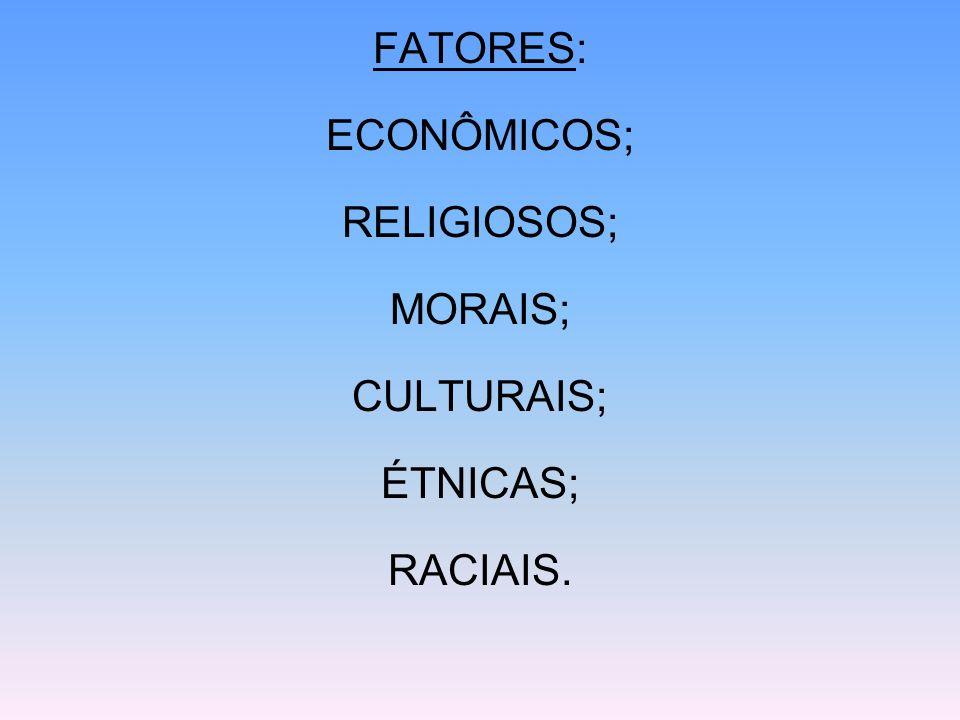 FATORES: ECONÔMICOS; RELIGIOSOS; MORAIS; CULTURAIS; ÉTNICAS; RACIAIS.