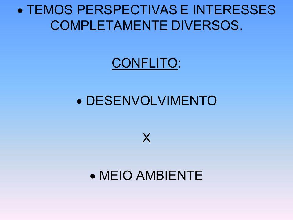 TEMOS PERSPECTIVAS E INTERESSES COMPLETAMENTE DIVERSOS. CONFLITO: DESENVOLVIMENTO X MEIO AMBIENTE