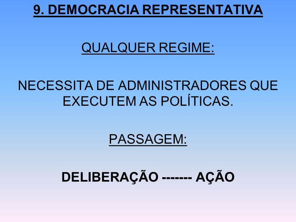 9. DEMOCRACIA REPRESENTATIVA QUALQUER REGIME: NECESSITA DE ADMINISTRADORES QUE EXECUTEM AS POLÍTICAS. PASSAGEM: DELIBERAÇÃO ------- AÇÃO