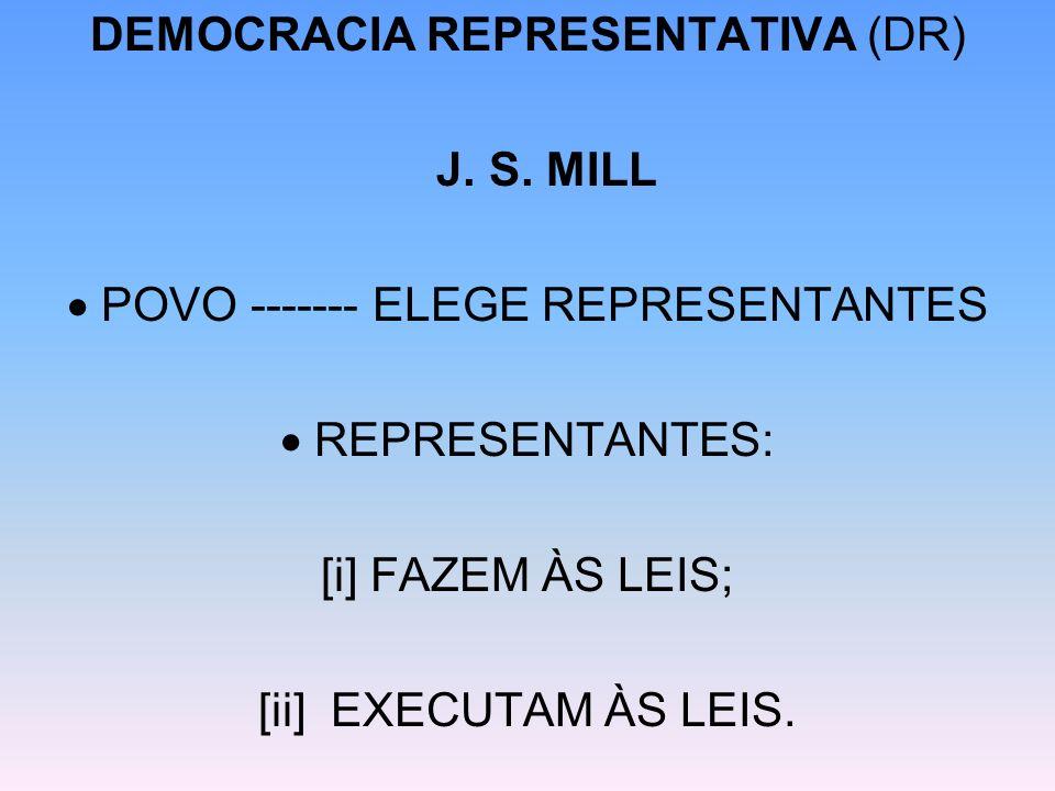 DEMOCRACIA REPRESENTATIVA (DR) J. S. MILL POVO ------- ELEGE REPRESENTANTES REPRESENTANTES: [i] FAZEM ÀS LEIS; [ii] EXECUTAM ÀS LEIS.