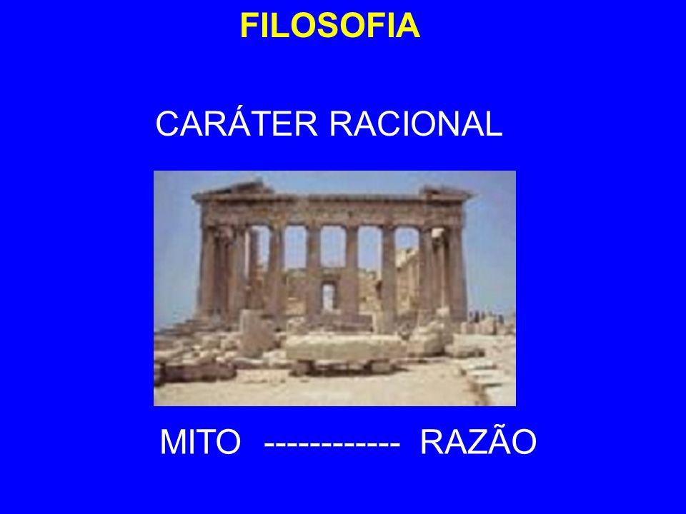 FILOSOFIA CARÁTER RACIONAL MITO ------------ RAZÃO