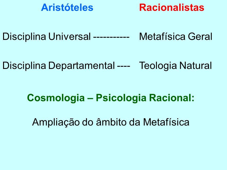 Aristóteles Disciplina Universal ----------- Disciplina Departamental ---- Racionalistas Metafísica Geral Teologia Natural Cosmologia – Psicologia Rac