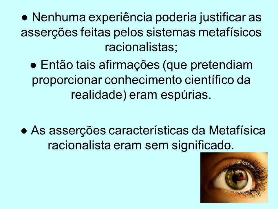 Nenhuma experiência poderia justificar as asserções feitas pelos sistemas metafísicos racionalistas; Então tais afirmações (que pretendiam proporciona