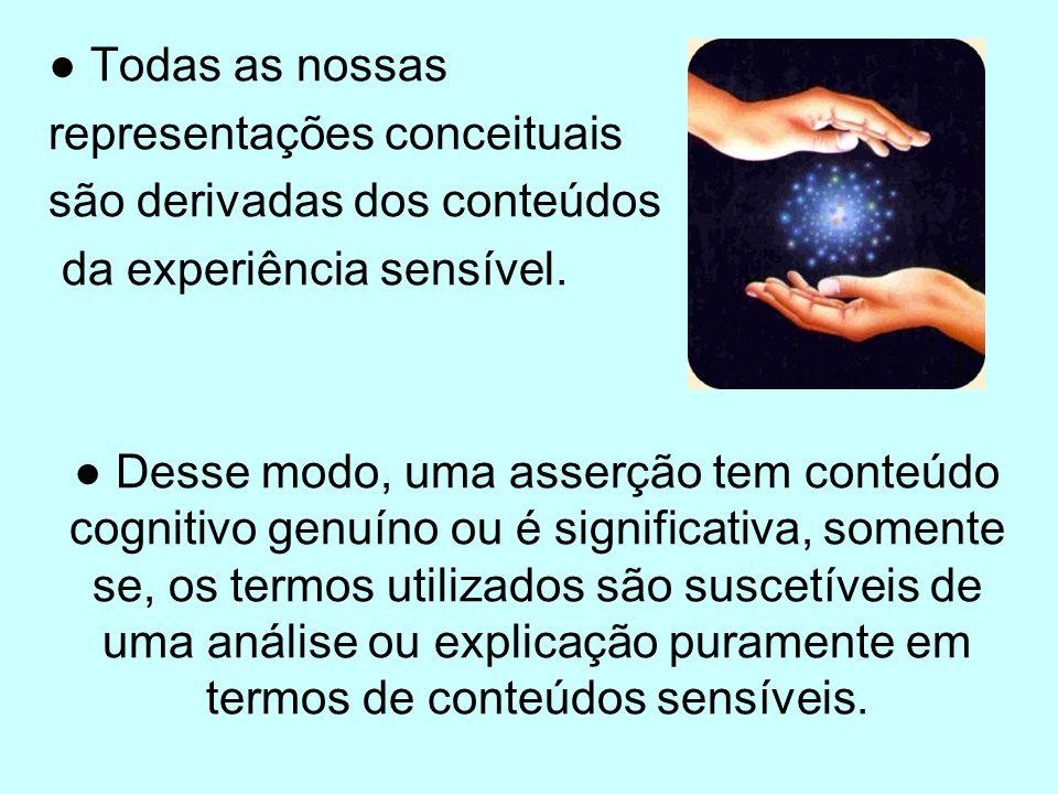 Todas as nossas representações conceituais são derivadas dos conteúdos da experiência sensível. Desse modo, uma asserção tem conteúdo cognitivo genuín