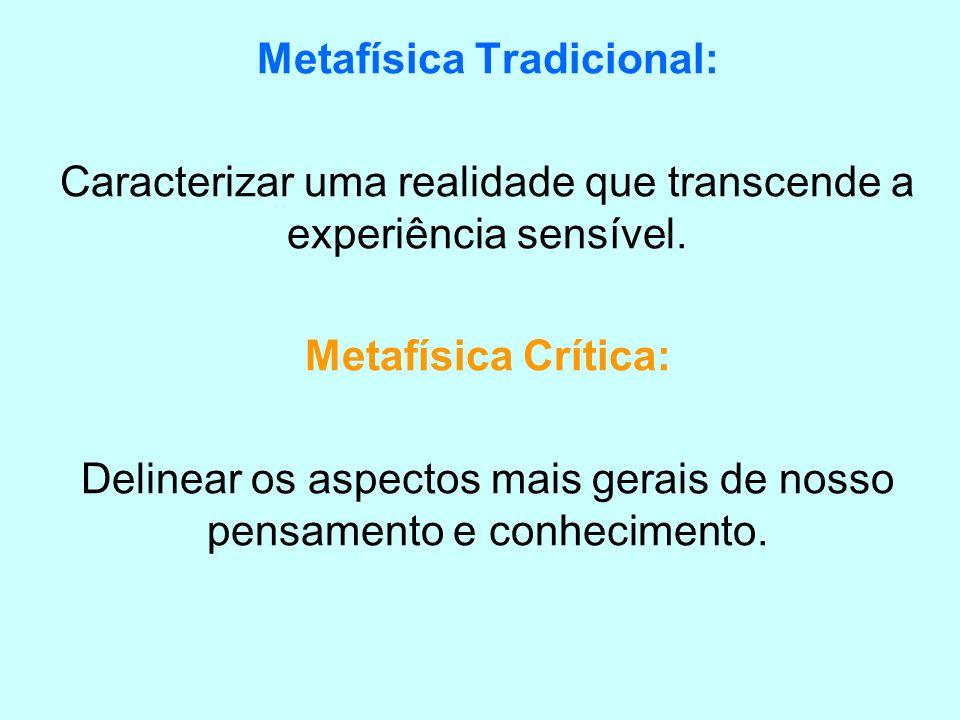Metafísica Tradicional: Caracterizar uma realidade que transcende a experiência sensível. Metafísica Crítica: Delinear os aspectos mais gerais de noss