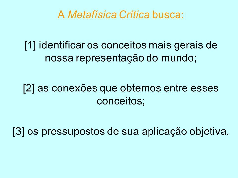A Metafísica Crítica busca: [1] identificar os conceitos mais gerais de nossa representação do mundo; [2] as conexões que obtemos entre esses conceito