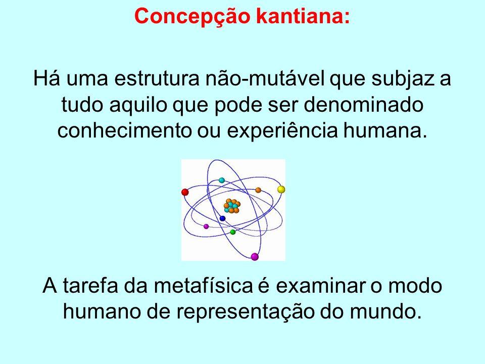 Concepção kantiana: Há uma estrutura não-mutável que subjaz a tudo aquilo que pode ser denominado conhecimento ou experiência humana. A tarefa da meta